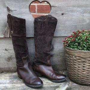 Sam Edelman Dark Brown Suede Penny Riding Boot 7M